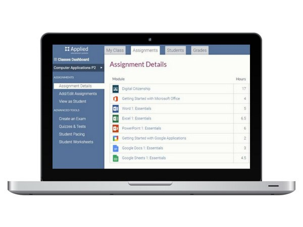 Customizable curriculum options allow you to create courses that meet computer applications standards and provide variety of information.