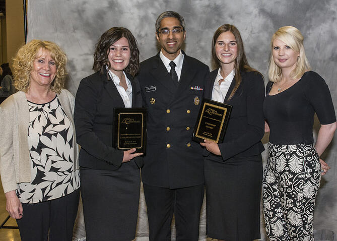 Pictured: Anne, Haeli Rich, another scholarship winner and sponsor with Dr. Vivek Murthy