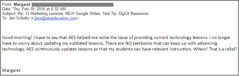 The AES Google Apps curriculum helps solve my issues