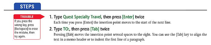 Trouble Warning tip for students from the Cengage middle school textbook for Microsoft Office