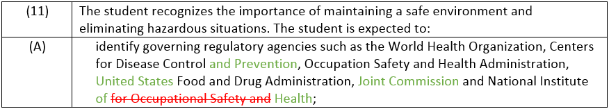 Principles of Health Science - Statement 11 Changes