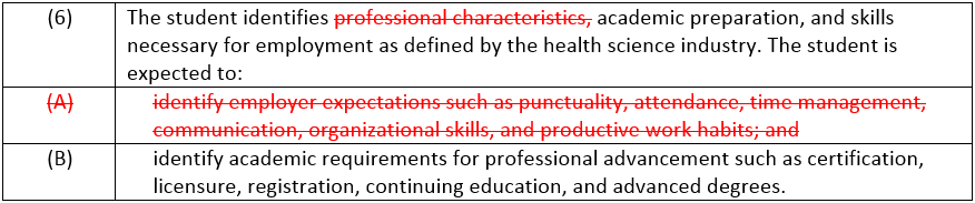 Principles of Health Science - Statement 6 Changes
