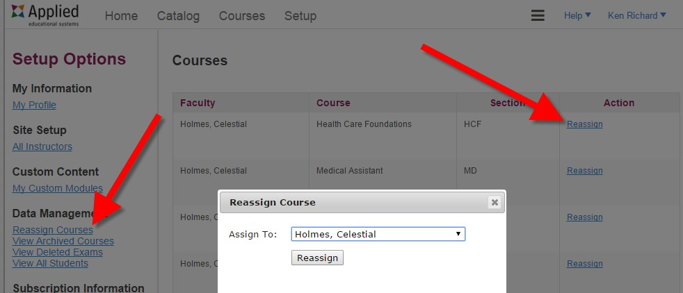 Reassign Course