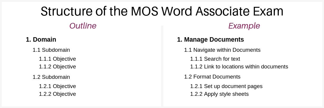 mos-word-associate-2019-exam-structure